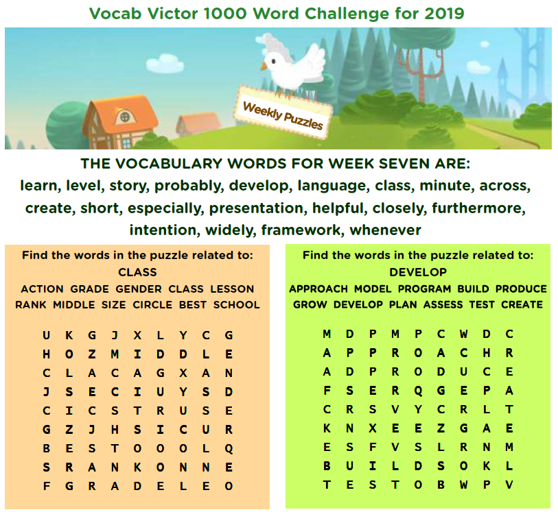 Vocab Victor - 1000 Word Challenge - Week 7